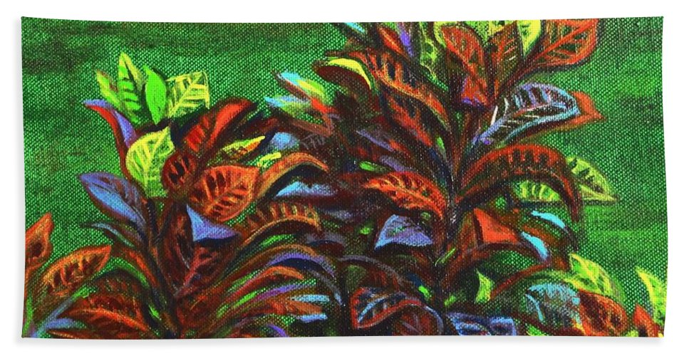 Hand Towel featuring the painting Crotons 6 by Usha Shantharam