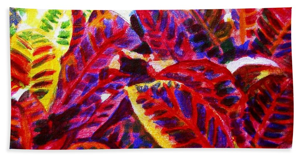 Nature Hand Towel featuring the painting Crotons Sunlit 1 by Usha Shantharam