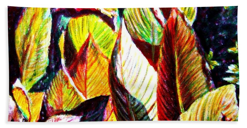 Plants Hand Towel featuring the painting Crotons Sunlit 2 by Usha Shantharam