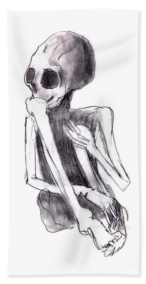 Crouched Skeleton Bath Sheet featuring the drawing Crouched Skeleton by Michal Boubin