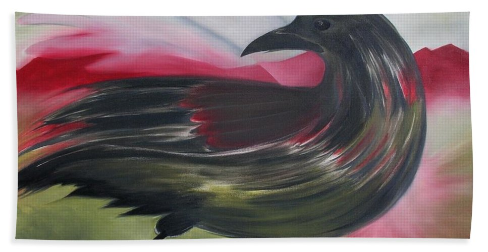 Crow Hand Towel featuring the painting Crow by Karen MacKenzie