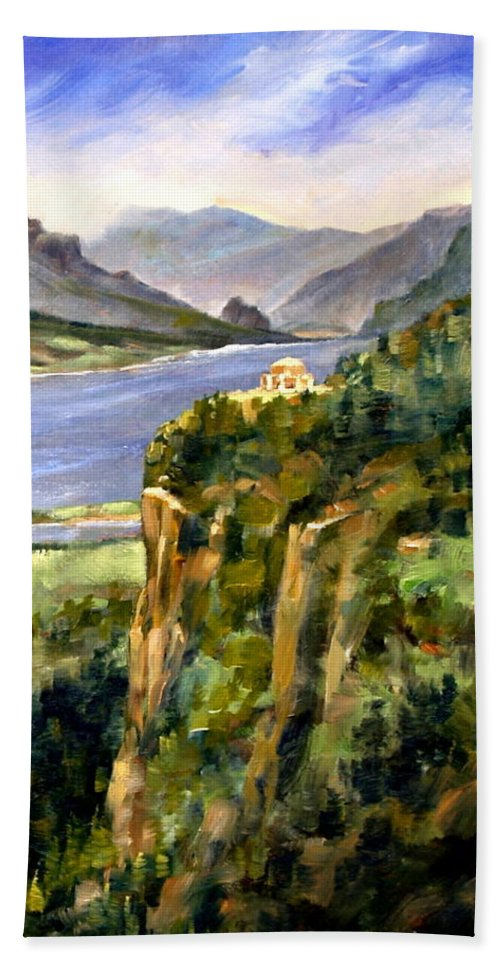 16 X 12 Hand Towel featuring the painting Crown Point Oregon by Jim Gola