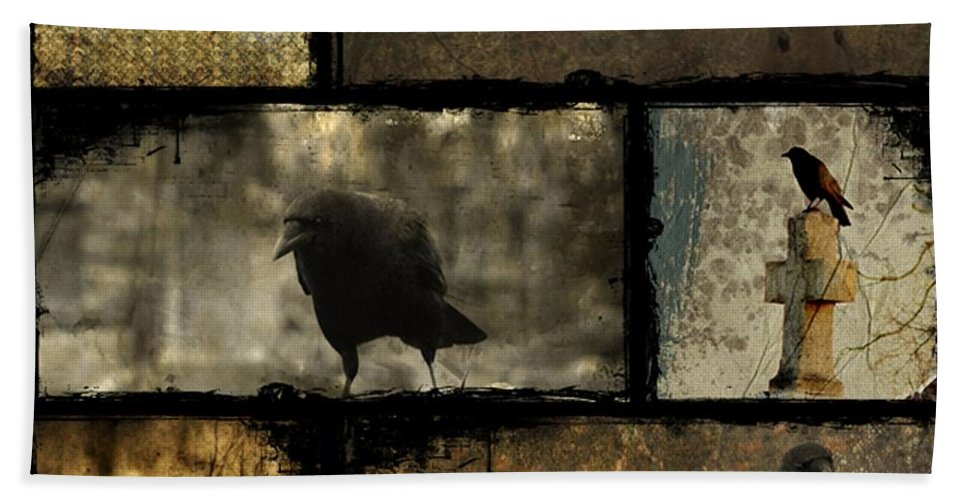 Crows Collage Hand Towel featuring the digital art Crows And One Rabbit by Gothicrow Images
