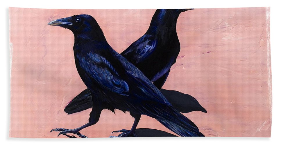 Crows Hand Towel featuring the painting Crows by Sandi Baker