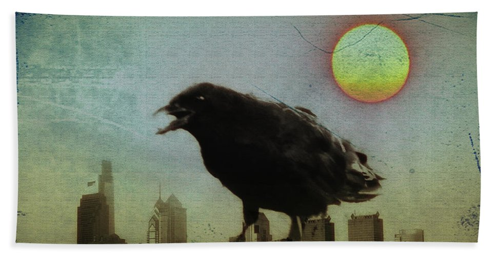 Crow Bath Sheet featuring the photograph Crowzilla by Bill Cannon