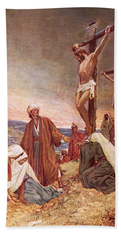 Bible; Jesus Christ; Crucifixion ;death; Weeping; Roman Soldiers Bath Sheet featuring the painting Crucifixion by William Brassey Hole