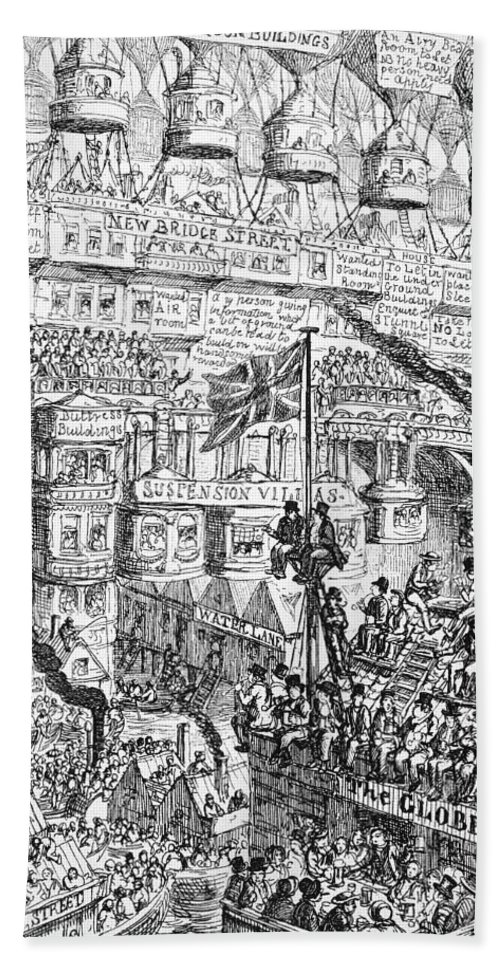 1851 Bath Sheet featuring the photograph Cruikshank: London, 1851 by Granger