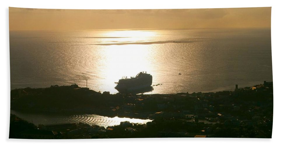 Cruise Ship Hand Towel featuring the photograph Cruise Ship At Sunset by Gary Wonning