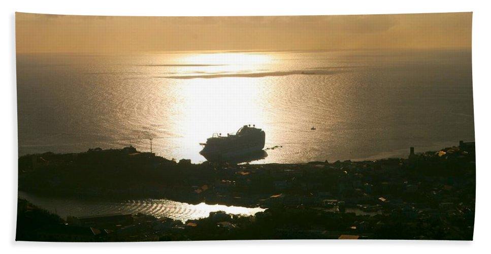 Cruise Ship Bath Sheet featuring the photograph Cruise Ship At Sunset by Gary Wonning