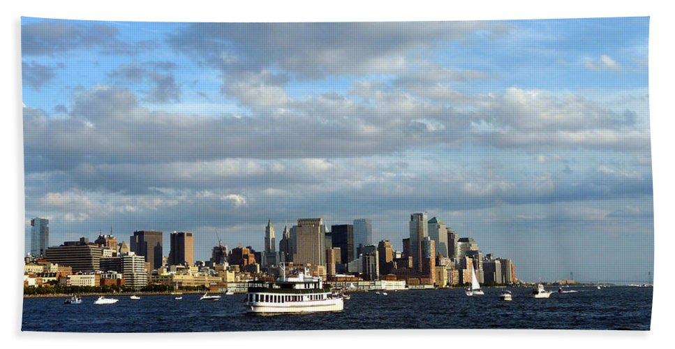 Water Boat Hand Towel featuring the photograph Cruising On The Hudson by Kendall Eutemey