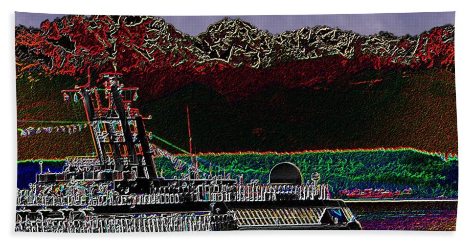 Seattle Bath Sheet featuring the digital art Cruising Puget Sound by Tim Allen
