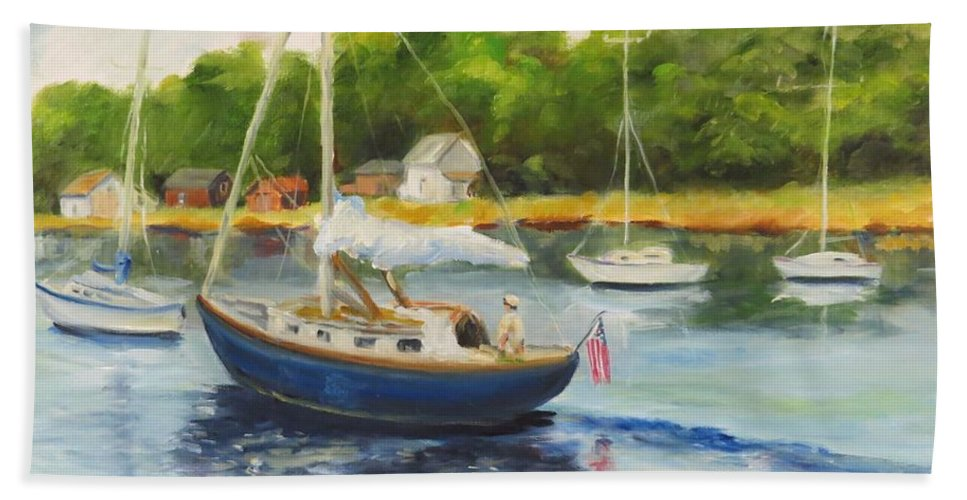 Seascape Bath Sheet featuring the painting Cruising The Cape by Jean Costa