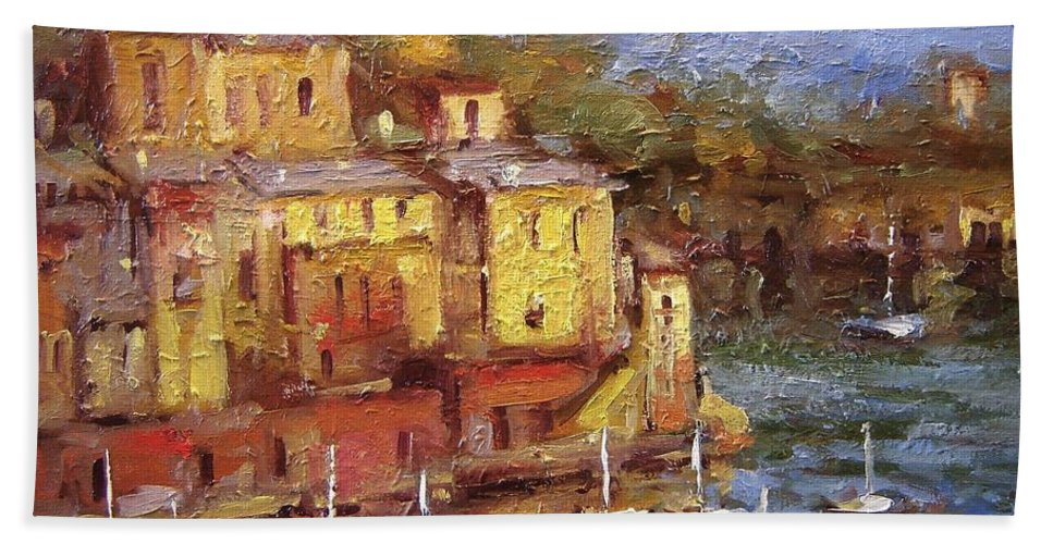 Paintings Of Portofino Hand Towel featuring the painting Crunchy Porto II by R W Goetting