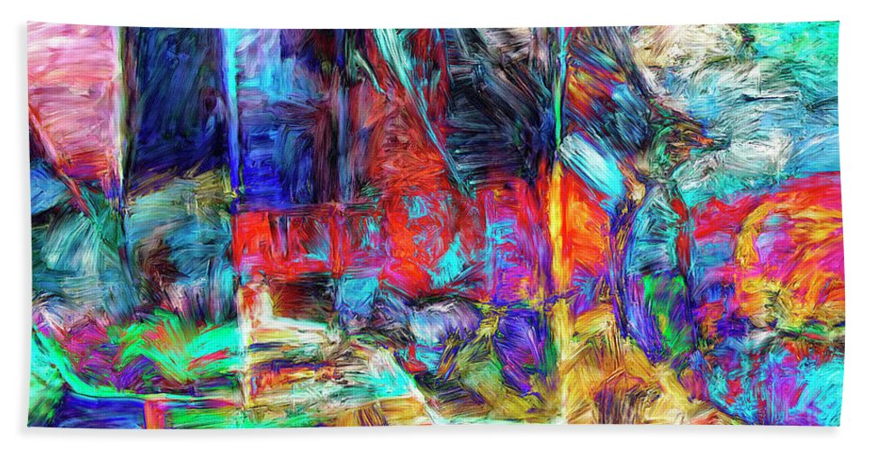 Abstract Hand Towel featuring the painting Crusaders by Dominic Piperata