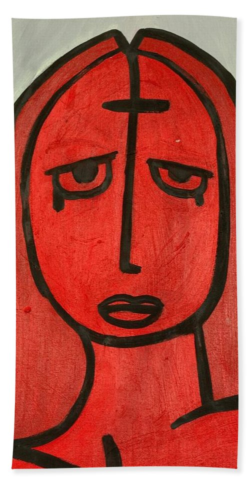 Clay Bath Towel featuring the painting Crying Girl by Thomas Valentine