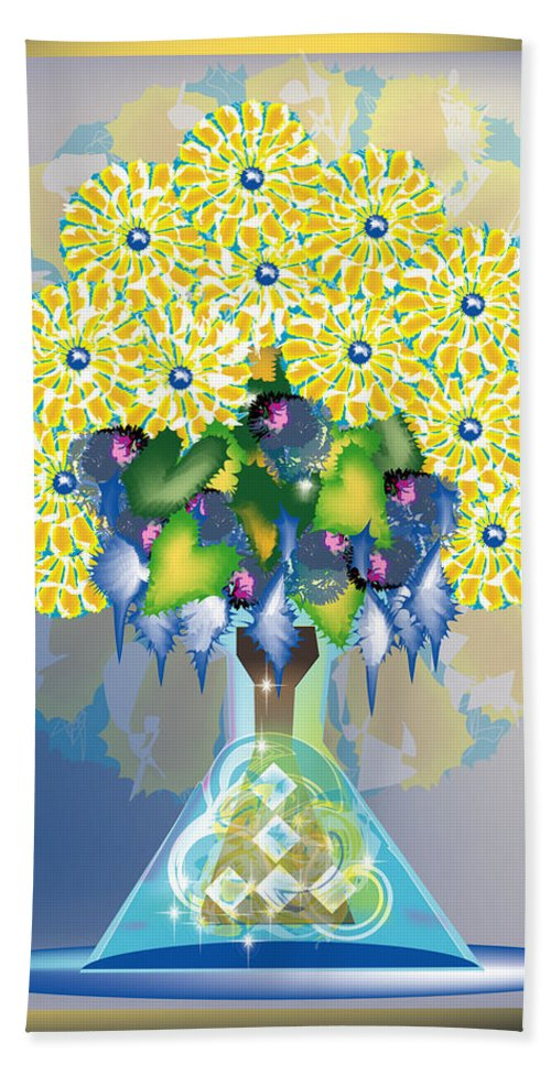 Flowers Hand Towel featuring the digital art Crystal Boquet by George Pasini