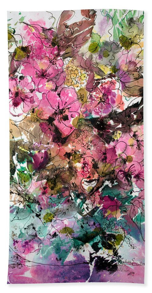 Abstract Impressionism Hand Towel featuring the painting Crystal Reflections by Barbara Colangelo