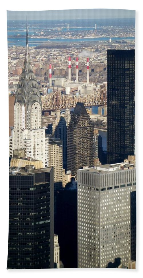 Crystler Building Bath Towel featuring the photograph Crystler Building by Anita Burgermeister