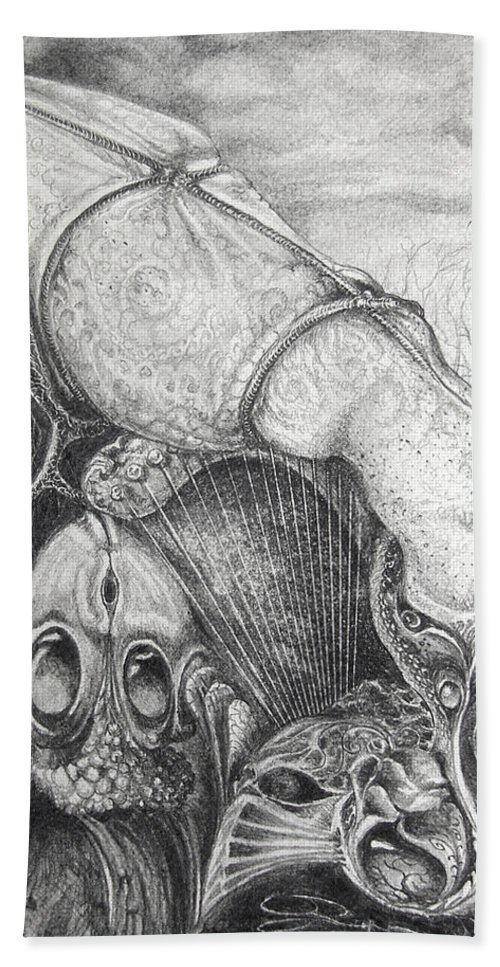 Surrealism Bath Towel featuring the drawing Ctulhu Seedpods by Otto Rapp