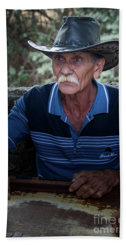 Cub Bath Sheet featuring the photograph Cuban Domino Player, Manaca Iznaga, Cuba by Dan Hartford
