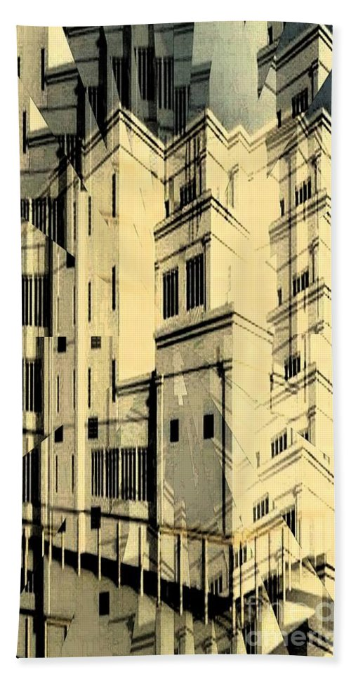 Building Bath Sheet featuring the digital art Cubic Building by Ron Bissett
