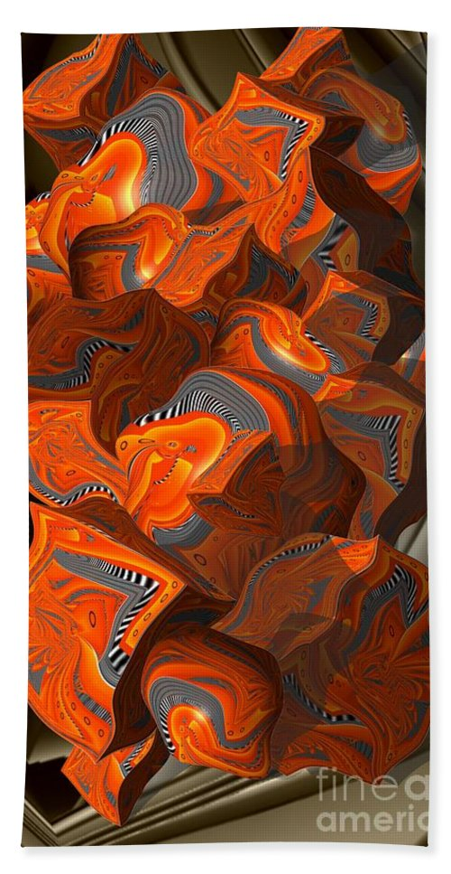 Abstract Bath Sheet featuring the digital art Cubic Tendings by Ron Bissett
