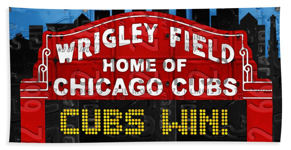 Cubs Win Bath Towel featuring the mixed media Cubs Win Wrigley Field Chicago Illinois Recycled Vintage License Plate Baseball Team Art by Design Turnpike