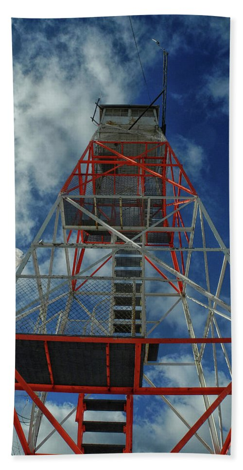 Culver Fire Tower Hand Towel featuring the photograph Culver Fire Tower by Raymond Salani III