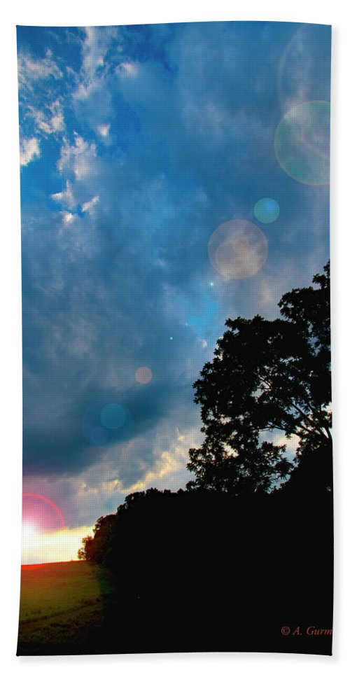 Cumulonimbus Clouds Bath Sheet featuring the photograph Cumulonimbus Clouds At Sunset by A Gurmankin