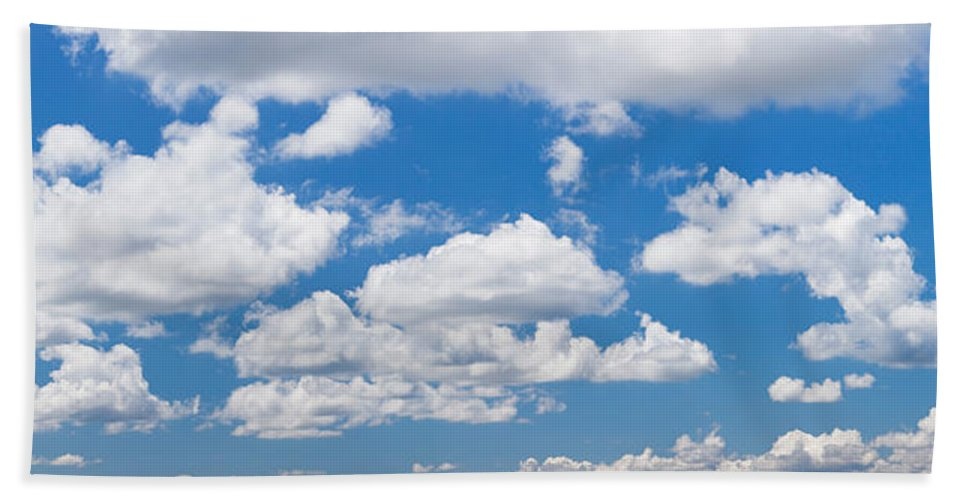 Photography Bath Sheet featuring the photograph Cumulus Clouds In The Blue Sky by Panoramic Images