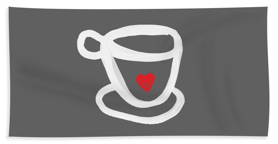 Coffee Bath Towel featuring the painting Cup of Love- Shirt by Linda Woods