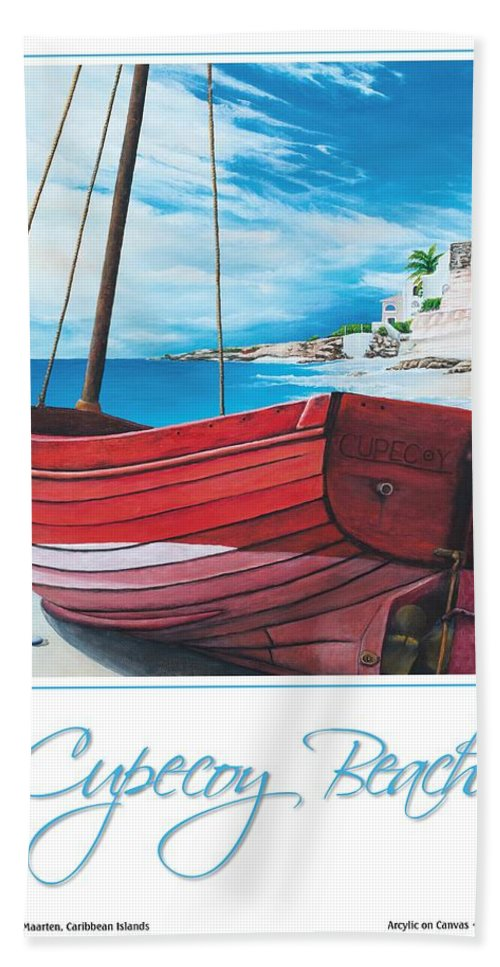 Red Bath Sheet featuring the painting Cupecoy Beach Poster by Cindy D Chinn
