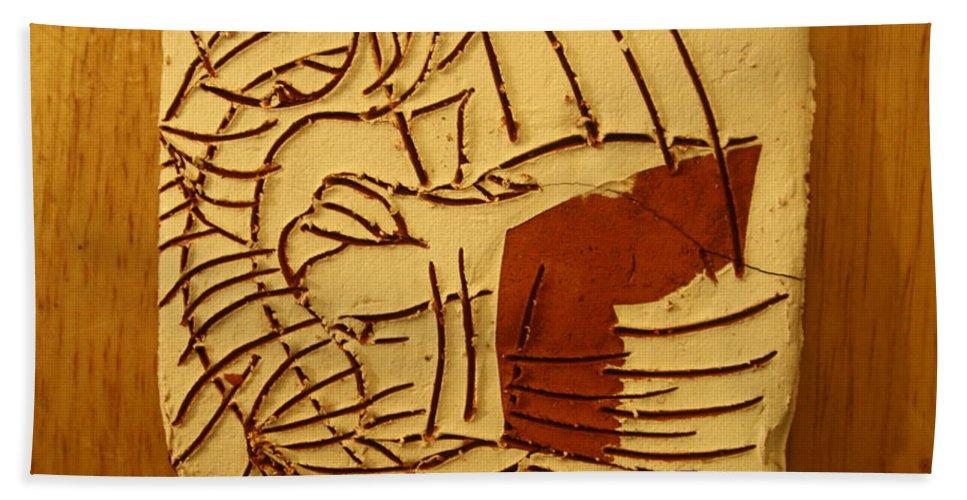 Jesus Hand Towel featuring the ceramic art Cupid - Tile by Gloria Ssali