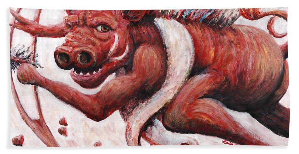 Pig Bath Sheet featuring the painting Cupig by Nadine Rippelmeyer
