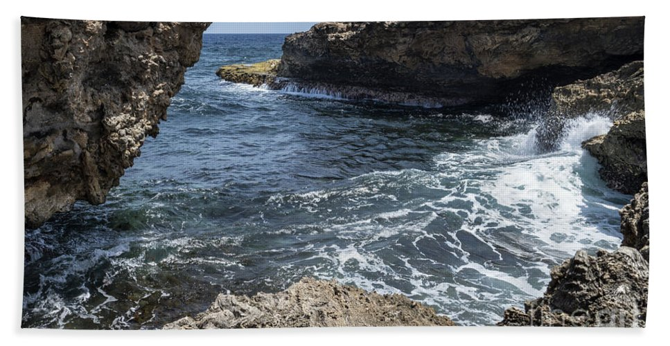 Coast Hand Towel featuring the photograph Curacao - Coast At Shete Boka National Park by Kenneth Lempert