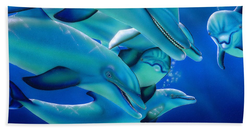 Dolphins Hand Towel featuring the painting Curiosity by Angie Hamlin