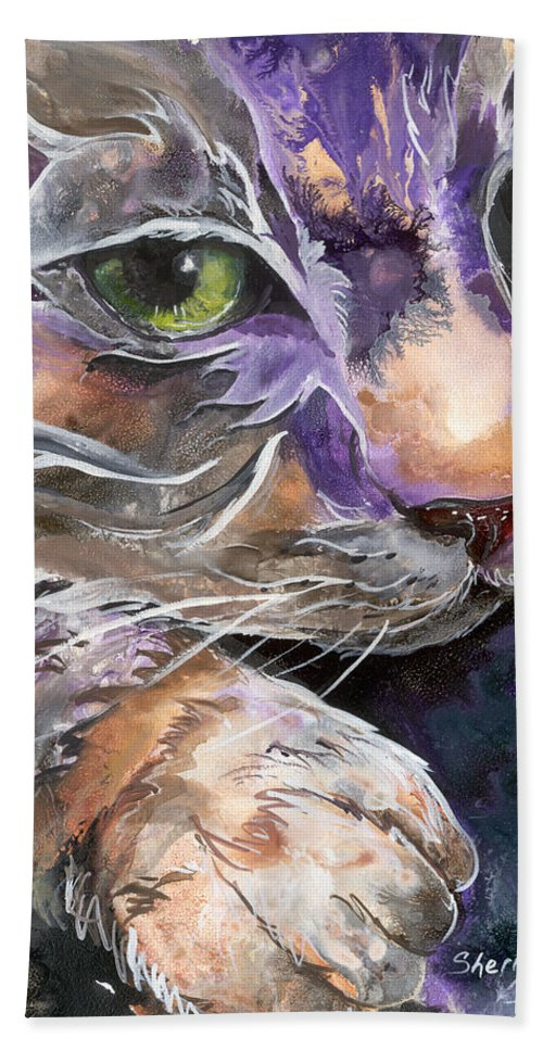 Cat Hand Towel featuring the painting Curiosity by Sherry Shipley