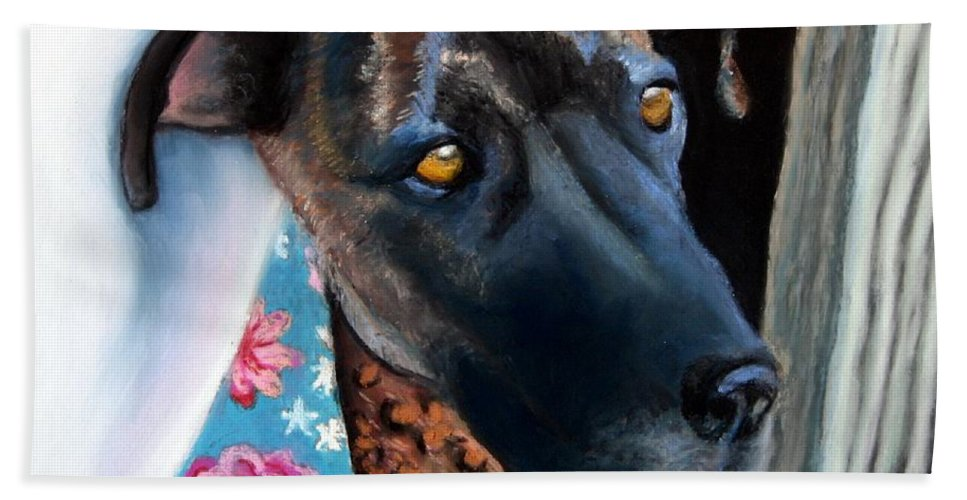 Great Dane Bath Towel featuring the painting Whats going on? by Minaz Jantz