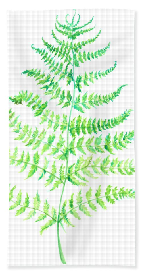 Fern Bath Sheet featuring the painting Curly Fern by Carly Norman