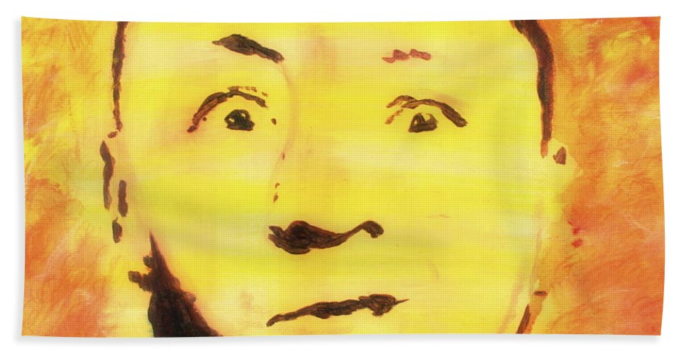 Curly Hand Towel featuring the painting Curly Howard Three Stooges Pop Art by Bob Baker