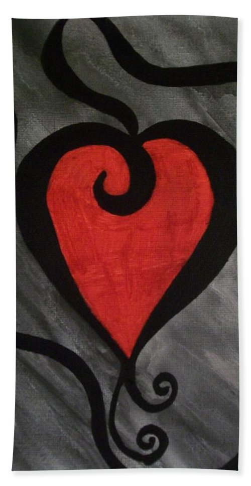 Heart Bath Sheet featuring the painting Curly Lou by Laurette Escobar