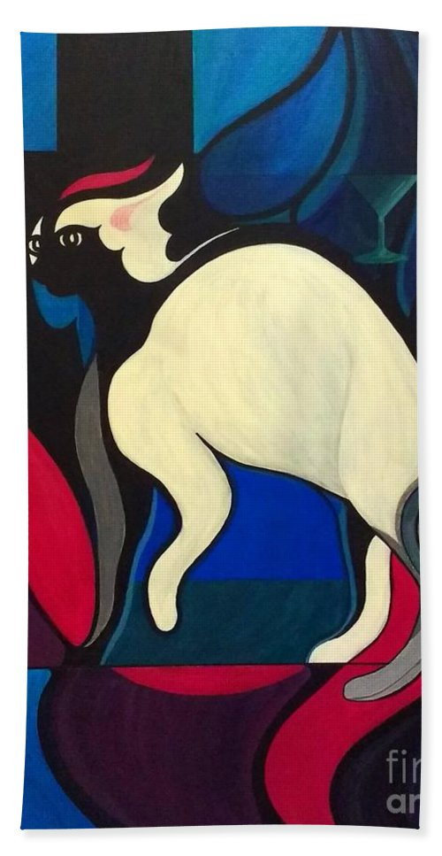 Bell Book And Candle Bath Towel featuring the painting Pyewacket by John Lyes