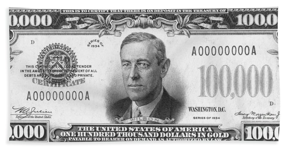 100 Bath Sheet featuring the photograph Currency: 100,000 Dollar Bill by Granger