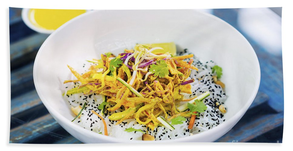 Asian Hand Towel featuring the photograph Curry Sauce Vegetable Salad With Noodles And Sesame by Jacek Malipan
