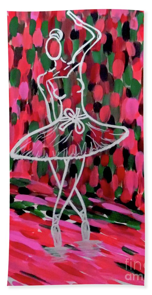 Ballerina Pink Hand Towel featuring the painting Curtain Call by Jilian Cramb - AMothersFineArt