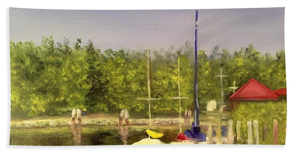 Sailboats Hand Towel featuring the painting Curtin's Marina II by Sheila Mashaw