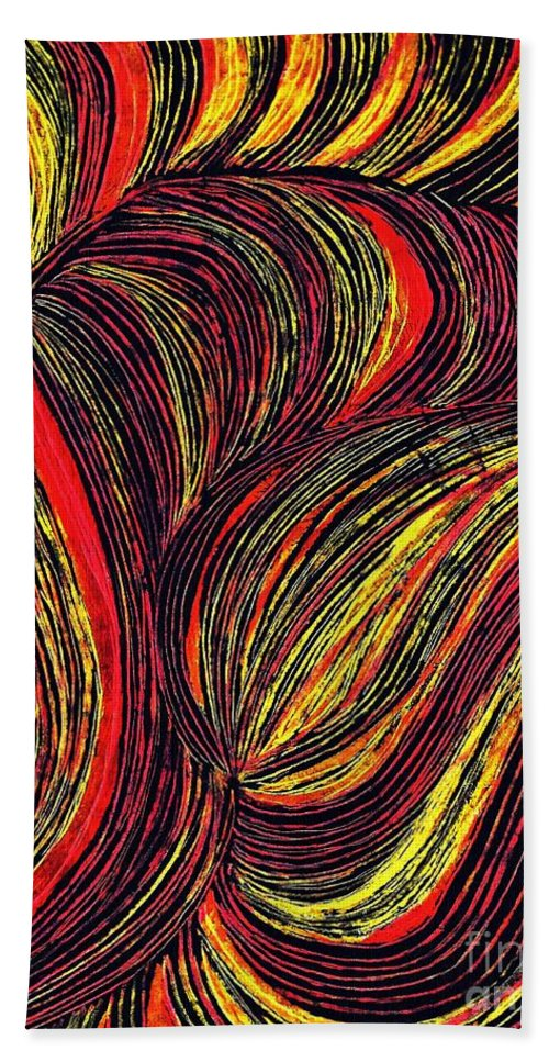 Curve Bath Sheet featuring the drawing Curved Lines 3 by Sarah Loft