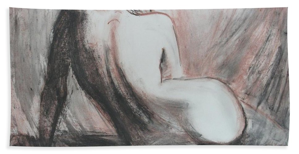 Curves Hand Towel featuring the painting Curves13 by Carmen Tyrrell