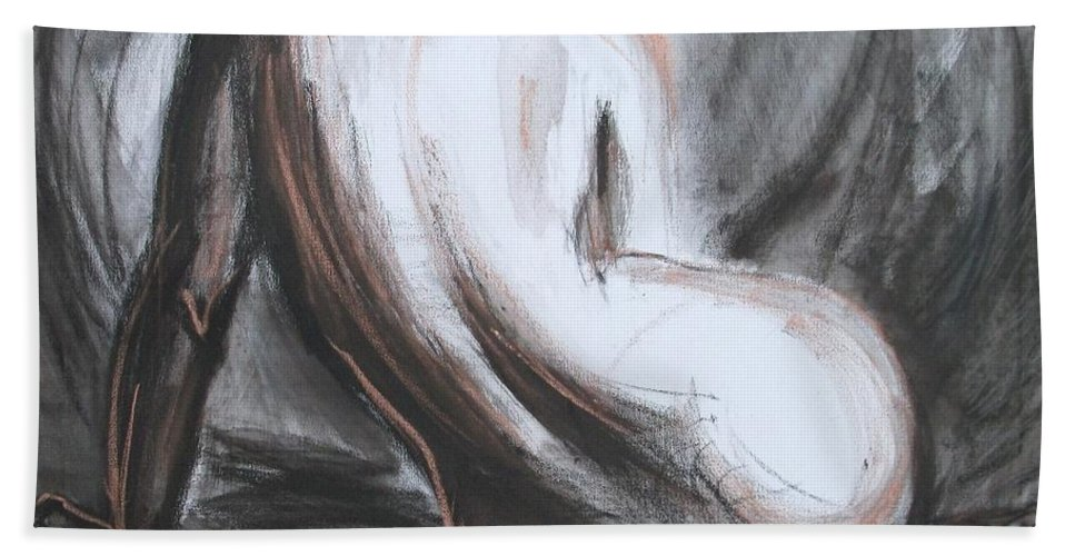 Curves17 Hand Towel featuring the painting Curves17 by Carmen Tyrrell