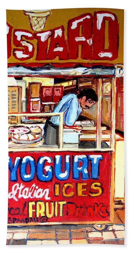 Custard Cart Hand Towel featuring the painting Custard Cart by Carole Spandau